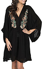 Vintage Havana Women's Black V-Neck Embroidered Dress