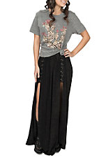 Vintage Havana Women's Black Lace Up Split Maxi Skirt