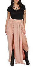 Vintage Havana Women's Rose Lace Up Maxi Skirt
