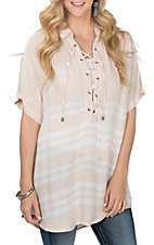 Vintage Havana Women's Almond and White Stripe Lace Up Tunic Fashion Shirt