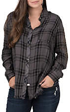 Vintage Havana Women's Charcoal Plaid with Brass Studs Long Sleeve Button Down Fashion Top