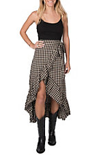 Vintage Havana Women's Plaid Ruffle Maxi Skirt