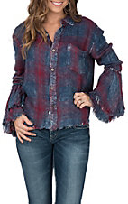Vintage Havana Women's Burgundy and Blue Plaid Top