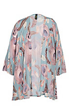 James C Women's Light Blue and Pink Feather Print Cardigan - Plus Size