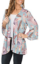 James C Women's Light Blue and Pink Feather Print Cardigan