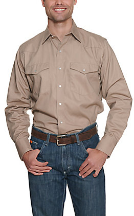 Cowboy Workwear Khaki Long Sleeve Work Shirt
