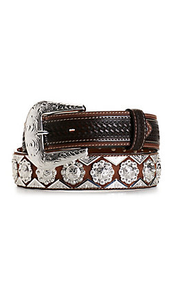 Cowboy Chrome Men's Brown Basket Weave with Silver Diamond and Berries Conchos Belt