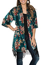 James C Women's Teal and Bush Velvet Fringe Kimono
