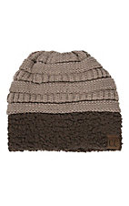 C.C. Beanies Taupe Knit with Brown Sherpa Beanie Hat