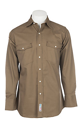 Cowboy Workwear Bark Brown Long Sleeve Work Shirt