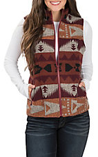 Cowgirl Legend Women's Rust and Maroon Aztec Vest