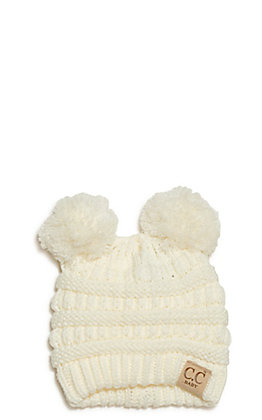 C.C. Baby Infant Ivory Double Pom Beanie