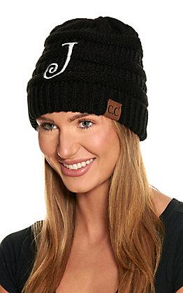 C.C. Black Knit Beanie - J
