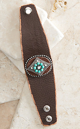 Cowboy Confetti Mystic Diamond Turquoise and Silver Leather Cuff Bracelet