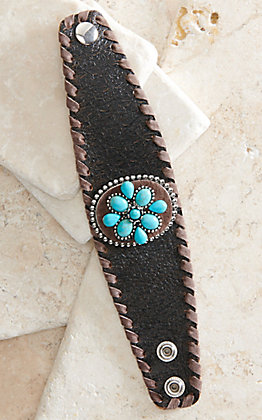 Cowgirl Confetti Desert Bloom Turquoise Leather Cuff Bracelet
