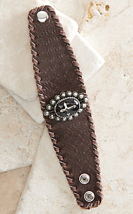 Cowgirl Confetti Forever Faithful Black with Silver Cross Leather Cuff Bracelet