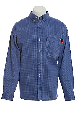 Forge Workwear Men's Blue and White Check Long Sleeve Shirt