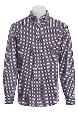 Forge Workwear Men's Purple Plaid Long Sleeve Shirt