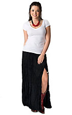Crazy Cowgirl Women's Black Long Broomstick Skirt