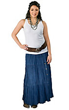 Crazy Cowgirl Women's Denim Long Broomstick Skirt