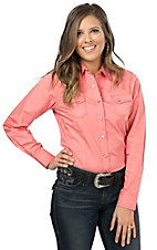 Wired Heart Women's Coral Long Sleeve Western Shirt