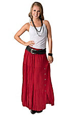 Crazy Cowgirl Women's Red Long Broomstick Skirt