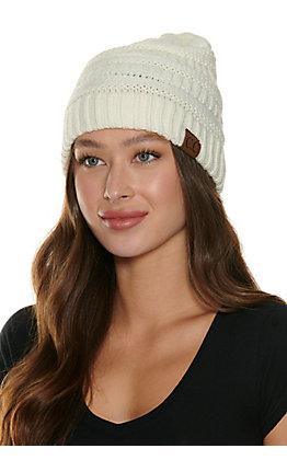 C.C. Solid Ivory Beanie
