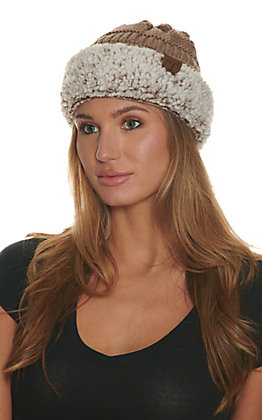 C.C. Taupe with Heather Brown Sherpa Beanie