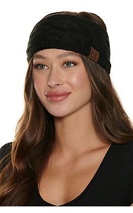 C.C. Black Cable Knit Fleece Lined Headwrap