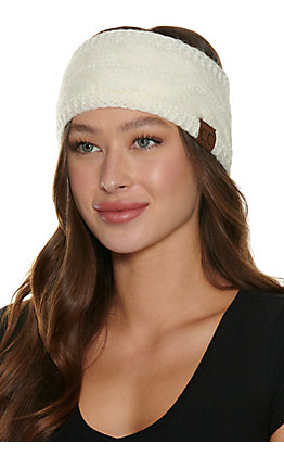 C.C. Ivory Cable Knit Fleece Lined Headwrap