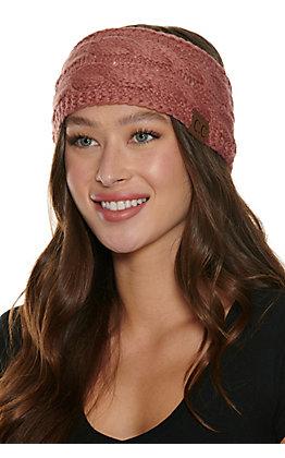 C.C. Mauve Cable Knit Fleece Lined Headwrap