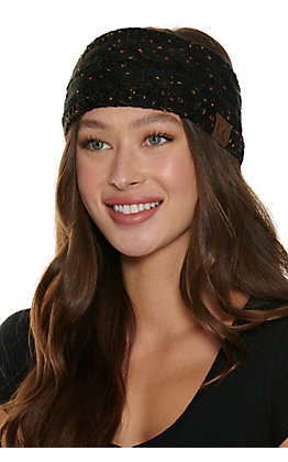 C.C. Black Multi Speckle Cable Knit Fleece Lined Headwrap