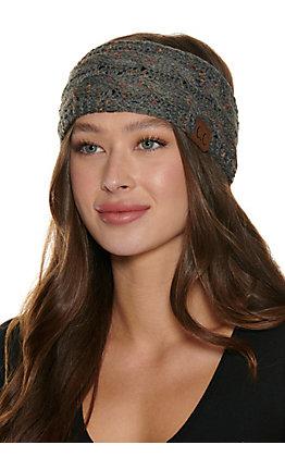 C.C. Dark Grey Multi Speckle Cable Knit Fleece Lined Headwrap