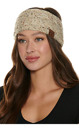 C.C. Oatmeal Multi Speckle Cable Knit Fleece Lined Headwrap
