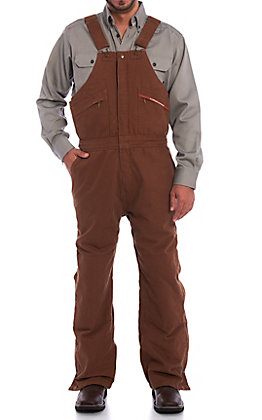 Forge Men's Brown Quilted Lined Bib Work Overalls