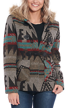 Cowgirl Legend Women's Brown Aztec Print with Faux Fur Trimmed Hood Jacket