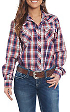 Cowgirl Legend Women's Navy Plaid Long Sleeve Western Snap Shirt