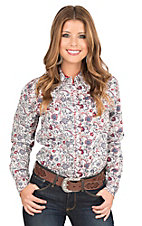 Wired Heart Women's Red, White, and Blue with Rhinestone Snaps Western Snap Shirt