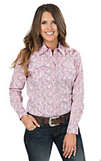 Wired Heart Women's Pink and White Paisley Print with Embellished Cross Long Sleeve Western Snap Shirt
