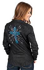Wired Heart Black Embossed with Blue and Silver Embellished Cross Long Sleeve Western Shirt