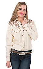 Life Style Women's Cream with Brown Floral Embroidery Long Sleeve Retro Western Shirt