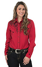 Life Style Women's Red with Black Floral Embroidery Long Sleeve Retro Western Shirt