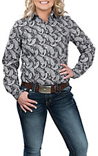 Cowgirl Legend Black and White Paisley L/S Western Snap Shirt