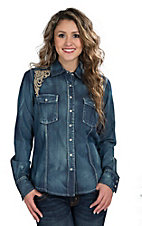 Wired Heart Women's Denim with Embroidery Western Shirt