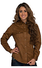 Wired Heart Women's Brown Floral Faux Suede Western Shirt