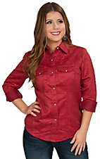 Wired Heart Women's Red Floral Faux Suede Western Shirt