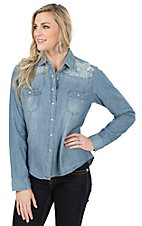 Wired Heart Women's Denim with Sequin Floral Embroidery Long Sleeve Western Shirt