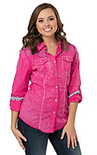 Wired Heart Women's Hot Pink with Purple Rose Embroidery Long Sleeve Western Shirt