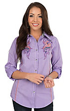 Wired Heart Women's Lavender with Tribal Embroidery Long to 3/4 Sleeve Western Shirt