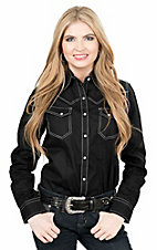 Wired Heart Women's Solid Black Long Sleeve Western Snap Shirt